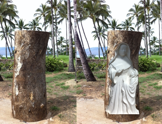 On the left is the Monkey Pod tree trunk that will become Dale's next statute. The image on the right  shows Dale's plaster study for Marianne superimposed over the tree trunk. The half-size plaster study is enlarged here to give an idea of what will emerge from the wood.