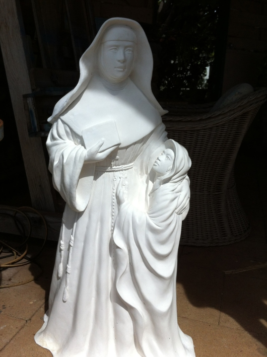 Half size plaster study of Mother Marianne and child
